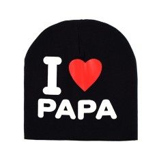 Baby Creative I Love Papa Mama Pola Beanie Hat Bernapas Lucu Cap untuk Musim Dingin Musim Gugur Model: Hitam I Love Papa-Intl