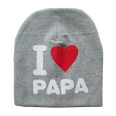 Baby Creative I Love Papa Mama Pola Beanie Hat Bernapas Lucu Cap untuk Musim Dingin Musim Gugur Model: Grey I Love Papa-Intl