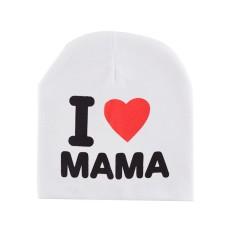 Baby Creative I Love Papa Mama Pola Beanie Hat Bernapas Lucu Cap untuk Musim Dingin Musim Gugur Model: Putih I LOVE Mama-Intl