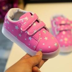 Baby Fashion Sneakers LED Luminous Anak Balita Kasual Lampu Warna-warni Sepatu-Intl