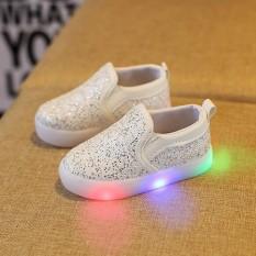 Baby Fashion Sneakers LED Luminous Anak Balita Kasual Warna-warni Lampu Sepatu