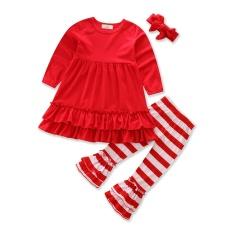 Bayi Gadis Pakaian Merah Atasan + Celana Bergaris + Headwear 3 Pcs Musim Gugur Gadis Set