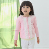 Ulasan Bayi Perempuan Mantel Rajutan Dekorasi Renda Kancing Jaket Kardigan Lengan Panjang Berwarna Merah Muda