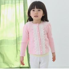 Harga Bayi Perempuan Mantel Rajutan Dekorasi Renda Kancing Jaket Kardigan Lengan Panjang Berwarna Merah Muda Online Tiongkok