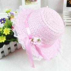 Bayi Gadis Anak Anak Renda Bunga Topi Node Brim Musim Panas Pantai Matahari Topi Jerami Berwarna