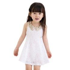 Promo Toko Bayi Gadis Payet Kerah Renda Rompi Rok Gaun Putri Putih Ekspor