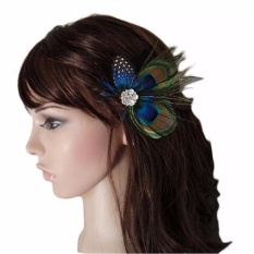 Baby Hair Clips Peacock Feather Hair Clip Pin f Girls Brides Bridesmaids - intl