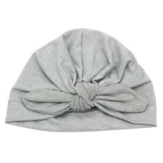 Kapas Bulu Hat Lembut Sorban Simpul Gadis Musim Panas Beanie Rabbit Ears Bohemian Baru Lahir Cap untuk 1-6 Tahun Warna: Grey-Intl