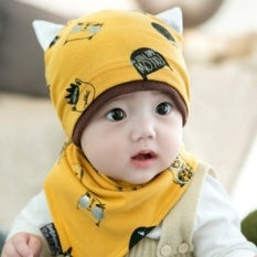 Baby set of head cap infant hat spring and autumn the new trend ofkitty cotton bibs baby tire cap hat for men and women (Thisscenario + About 42-50 CM + Turmeric) - intl