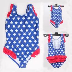 Baby Swimsuit High-End Anak-anak Lima Menunjuk Bintang Pria Swimsuit 2-6 Tahun Bayi Siam Swimsuit Anak-anak Halter Conjoined Swimsuit Dilipat Lace Swimwear-Intl