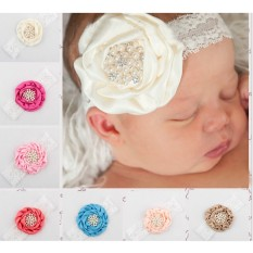 Bayi Balita Pearl Crystal Lace Rose Flower Hair Tangan Anak-anak Rhinestone Soft Headwear Headband