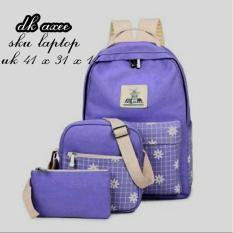 Promo Backpack 3 In 1 Floral Square Pocket Backpack Tas Ransel Sling Bag Tas Selempang Pouch Dompet Purple Murah