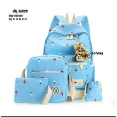 Harga Backpack 4 In 1 Tulips Backpack Tas Ransel Sling Bag Tas Selempang Pouch Dompet Pencil Case Tempat Pensil Blue Non Brand