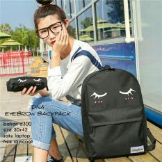 Diskon Besarbackpack Korean Style Eyelash 2 In 1 Backpack Tas Ransel Pencil Case Tempat Pensil Black