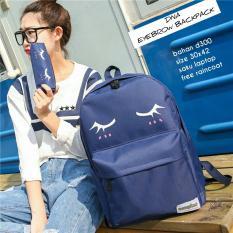 Backpack Korean Style Eyelash 2 In 1 Backpack Tas Ransel Pencil Case Tempat Pensil Navy Blue Murah