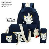 Harga Backpack Korean Style Luna 4 In 1 Backpack Tas Ransel Sling Bag Tas Selempang Pouch Dompet Pencil Case Tempat Pensil Navy Blue Terbaik