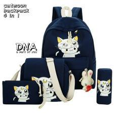 Backpack Korean Style Luna 4 In 1 Backpack Tas Ransel Sling Bag Tas Selempang Pouch Dompet Pencil Case Tempat Pensil Navy Blue Diskon Akhir Tahun