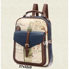 Dapatkan Segera Backpack Korean Style Mutnam Big Ben Tas Ransel Wanita Korean Style Navy Blue