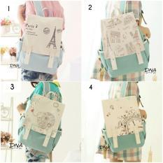 Beli Backpack Korean Style Paris Cap Tas Ransel Wanita Korean Style Blue Cicilan
