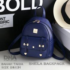 Backpack Korean Style Sheila / Tas Ransel Wanita Korean Style -  Navy Blue