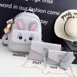 Spesifikasi Backpack Korean Style Sparkle Eyes Bunny 4 In 1 Backpack Tas Ransel Sling Bag Tas Selempang Pouch Dompet Key Holder Gantungan Kunci Tas Ransel Wanita Tas Ransel Anak Tas Sekolah Anak Korean Style Grey Dan Harga