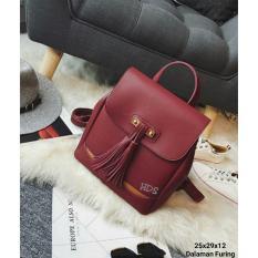 Harga Backpack Korean Style Tas Ransel Fringe Fashion Maroon Termurah