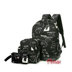 PROMO Backpack Ransel Wanita/Tas Motif Cat Lucu/ Tas Sekolah /Kuliah/ Kerja/ Anak/ Remaja Terbaru Ayunesfashion/Batik
