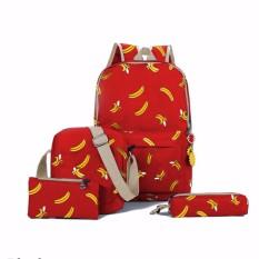 Backpack Set Banana 4 in 1 (Backpack / Tas Ransel, Sling Bag / Tas Selempang, Pouch / Dompet, Mini Pouch)