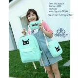 Review Backpack Set Black Cat 3 In 1 Backpack Tas Ransel Sling Bag Tas Selempang Pouch Dompet Light Green Non Brand