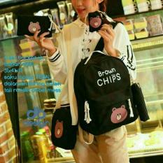 Harga Backpack Set Brown Chips 4 In 1 Backpack Tas Ransel Sling Bag Tas Selempang Pouch Dompet Mini Pouch Black Origin