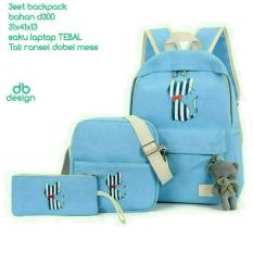 Rp 65.000. Backpack Set Cat Stripe 3 in 1 (Backpack / Tas Ransel ...