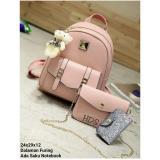 Toko Backpack Set Chain Strap 3 In 1 Backpack Tas Ransel Sling Bag Tas Selempang Pouch Dompet Pink Termurah