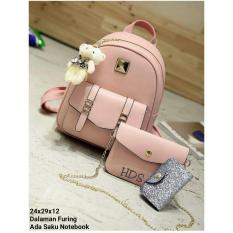 Spesifikasi Backpack Set Chain Strap 3 In 1 Backpack Tas Ransel Sling Bag Tas Selempang Pouch Dompet Pink