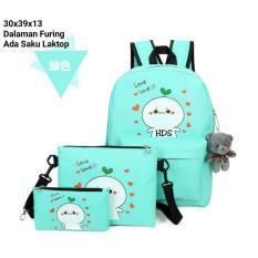 Jual Backpack Set Cony 3 In 1 Backpack Tas Ransel Sling Bag Tas Selempang Pouch Dompet Green Ori