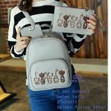 Backpack Set Kitty Family 3 In 1 Backpack Tas Ransel Pouch Wallet Dompet Grey Diskon Akhir Tahun