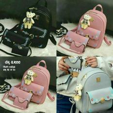 Rp 70.000. Backpack Set Korean Style 3 in 1 Floral Edge (Backpack / Tas Ransel 3 in 1, Sling Bag ...