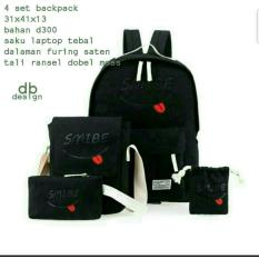 Backpack Set Smibe 4 In 1 Backpack Tas Ransel Sling Bag Tas Selempang Pouch Dompet Mini Pouch Black Non Brand Diskon 50