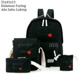 Harga Backpack Set Smibe 4 In 1 Backpack Tas Ransel Sling Bag Tas Selempang Pouch Dompet Mini Pouch Black Baru