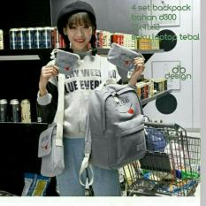 Beli Backpack Set Smibe 4 In 1 Backpack Tas Ransel Sling Bag Tas Selempang Pouch Dompet Mini Pouch Grey Baru