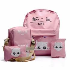 Toko Backpack Tas Punggung Tas Ransel Ransel Sekolah Travel Bag 4 In 1 Wanita 3P Cat Backpack Baby Pink Murah Di Indonesia