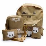 Spesifikasi Backpack Tas Punggung Tas Ransel Ransel Sekolah Travel Bag 4 In 1 Wanita 3P Cat Backpack Brown Yang Bagus