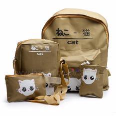Jual Backpack Tas Punggung Tas Ransel Ransel Sekolah Travel Bag 4 In 1 Wanita 3P Cat Backpack Brown Lengkap