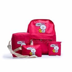 Toko Backpack Tas Punggung Tas Ransel Ransel Sekolah Travel Bag 4 In 1 Wanita 3P Isee Backpack Red Murah Indonesia