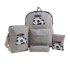 Dapatkan Segera Backpack Tas Punggung Tas Ransel Ransel Sekolah Travel Bag 4 In 1 Wanita 3P Panda Karakter Light Grey