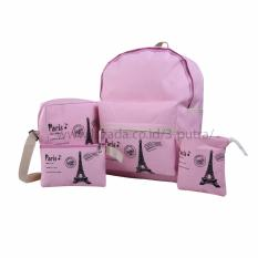 Review Backpack Tas Punggung Tas Ransel Ransel Sekolah Travel Bag 4 In 1 Wanita 3P Paris Backpack Pink Backpack