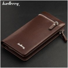 Baellerry Dompet Fashion Import PU leather business long wallet with zipper - Coklat