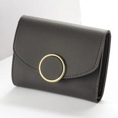 Spesifikasi Baellerry Fashion Buckle Three Fold Small Wallet Simple Round Buckle Women Wallet Black Intl Murah