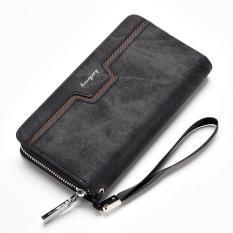 Cuci Gudang Baellerry Fashion Pria Tangan Casing Dompet Kulit Bagian Panjang Zipper Dompet Bisnis Kasual Youth Hand Bag Hitam