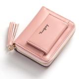 Beli Baellerry Baru Lady Pendek Rumbai Ritsleting Gesper Dompet Dua Lipat Cute Little Dompet Pink Seken