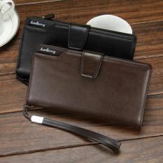 Baellery 1063 Dompet Lipat Kulit Panjang Pria Bisnis Kartu Kredit Premium Clutch Wallet Dengan Tali Tangan Fashion